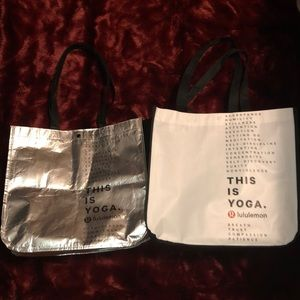 TWO LuLu Lemon Reusable Shopping Bag Totes